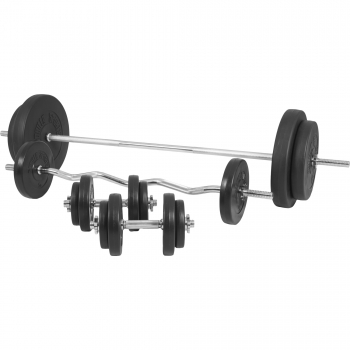 Banc de musculation GS006 + Set haltères disques en plastiques et Barres 100KG