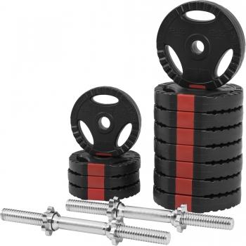 Set d'haltères courts + disques revêtement plastiques avec poignées 30 Kg