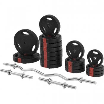 Set d'haltères disques revêtement plastique avec poignées + barre curl 70 Kg