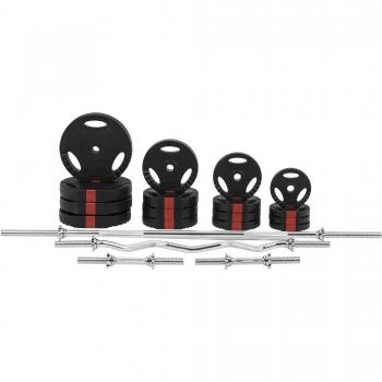 Set d'haltères complet avec disques revêtement plastique avec poignées + barres 97,5 Kg