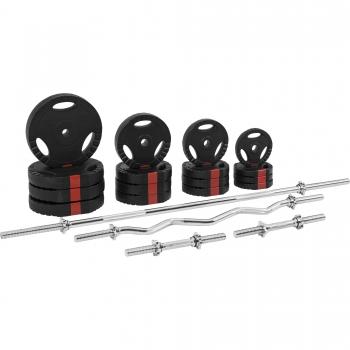 Set d'haltères complet avec disques revêtement plastique avec poignées + barres 100 Kg