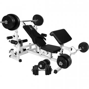 Banc de musculation universel GS005 + Set haltères disques plastiques et Barres 100kg