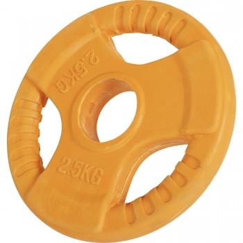 Poids disque 51mm en fonte revêtement caoutchouc de 2,5kg avec poignée