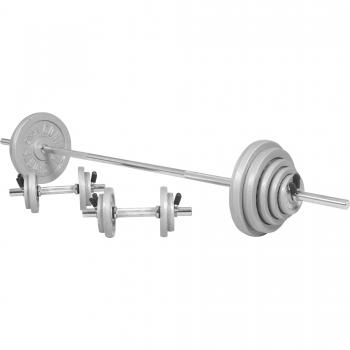 Kit d´haltère de 97,5kg barre longue de 170cm et deux barres courtes de 35cm avec stop disques inclus
