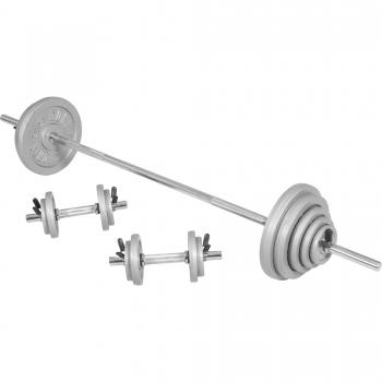 Kit d´haltère de 100kg barre longue de 170cm et deux barres courtes de 35cm avec stop disques inclus