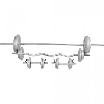 Kit d´haltères de 108kg barre longue de 170cm, barre curl de 120cm et deux barres courtes avec stop disques inclus