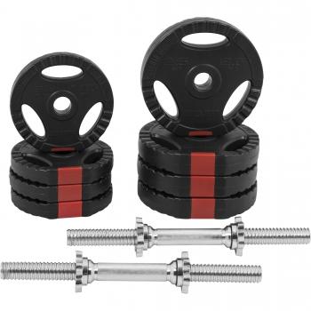 Set d'haltères courts + disques revêtement plastiques avec poignées 20 Kg