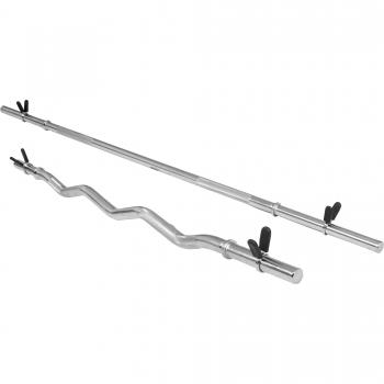Lot : Barre longue de 170cm + barre curl de 120cm, diamètre 30mm avec stop disques