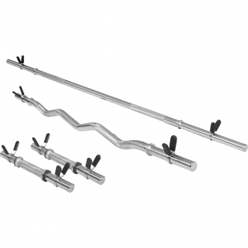 Lot : 1 x barre longue de 170cm + 1 barre curl de 120cm + 2 barres courtes de 35cm, diamètre 30mm avec stop disques