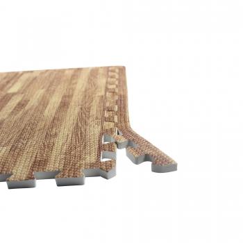 6 x Tapis de protection en mouse + 12 bordure Bois - Tapis puzzle de protection avec bordures interconnectables de 1,2cm d'épaisseur en mousse EVA 18 éléments à effet bois