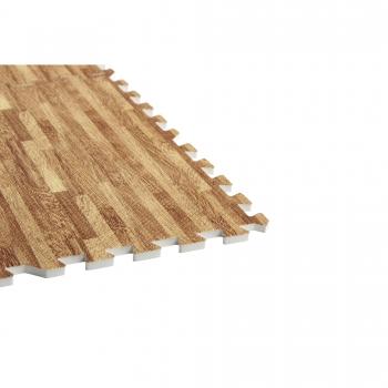 Tapis puzzle de protection avec bordures interconnectables de 1,2cm d'épaisseur en mousse EVA 18 éléments à effet bois