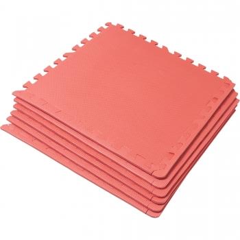 Tapis puzzle de protection avec bordures interconnectables de 1,2cm d'épaisseur en mousse EVA 18 éléments ROUGE