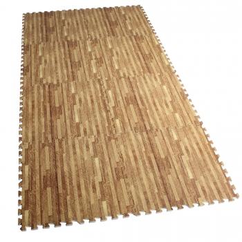 Tapis de protection interconnectables de 1,2cm en mousse - EVA 8 carré de 60x60cm à effet bois