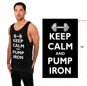 Gorilla Sports Tank Top Keep Calm and pump iron S à 3XL Noir/blanc