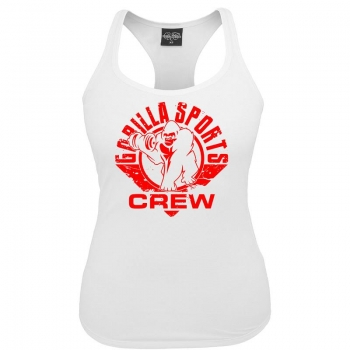 Gorilla Sports ladies tank top blanc – CREW logo rouge S