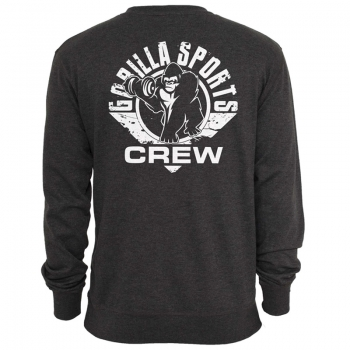 Gorilla Sports Sweatshirt charcoal – CREW logo blanc S