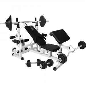 Banc de musculation universel avec support pour haltères et set d´haltéres en caoutchouc de 105,5kg