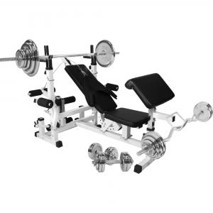 Banc de musculation universel avec support pour haltères et set d´haltères de 105,5kg chromés