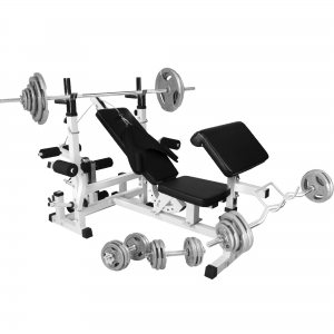 Banc de musculation universel avec support pour haltères et set d´haltères de 105,5kg en fonte avec poignés