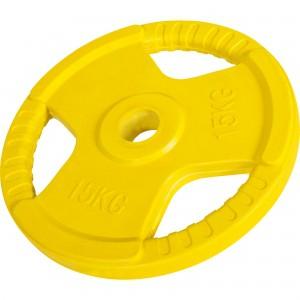 Poids disque 51mm en fonte revêtement caoutchouc de 15kg avec poignée