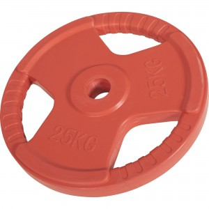 Poids disque 51mm en fonte revêtement caoutchouc de 25kg avec poignée