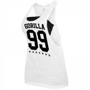 Gorilla Sports Ladies tank blanc/noir – GORILLA 99 - L