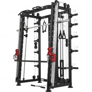 Smith machine Machine Gorilla Sports avec Power rack, Multi Station et Presse.