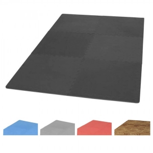 Tapis puzzle de protection avec bordures interconnectables de 1,2cm d'épaisseur en mousse EVA 18 éléments - Coloris Noir, Bleu, Gris ou Rouge