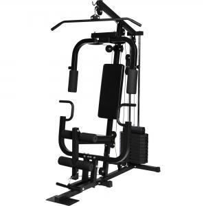 Home Gym Multifonction Noir Gorilla Sports - Appareil de musculation copmplet avec système de poulie à joints
