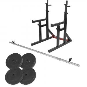 Squat rack avec barre longue de 170cm (30mm) avec stop disques et 30kg des poids (2x5kg et 2x10kg) en plastique et 31mm diamètre