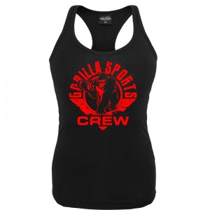 Gorilla Sports ladies tank top noir– CREW logo rouge S