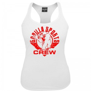 Gorilla Sports ladies tank top blanc – CREW logo rouge XS