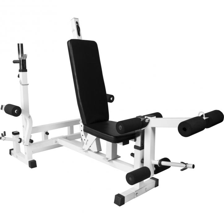 banc de musculation universel avec support pour halt res blanc gs005 universalyf e55. Black Bedroom Furniture Sets. Home Design Ideas