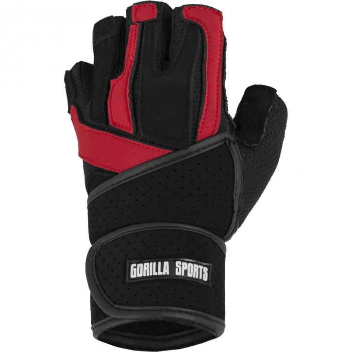 Gorilla Sports Gants d'entrainement + bande de soutien pour articulations NOIR/ROUGE taille XL