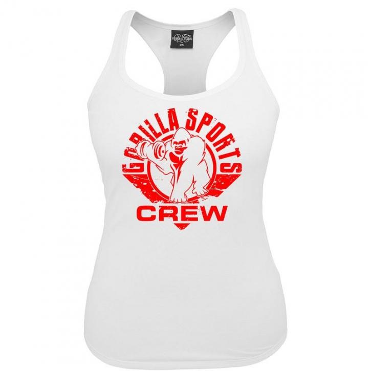 Gorilla Sports ladies tank top blanc – CREW logo rouge XL