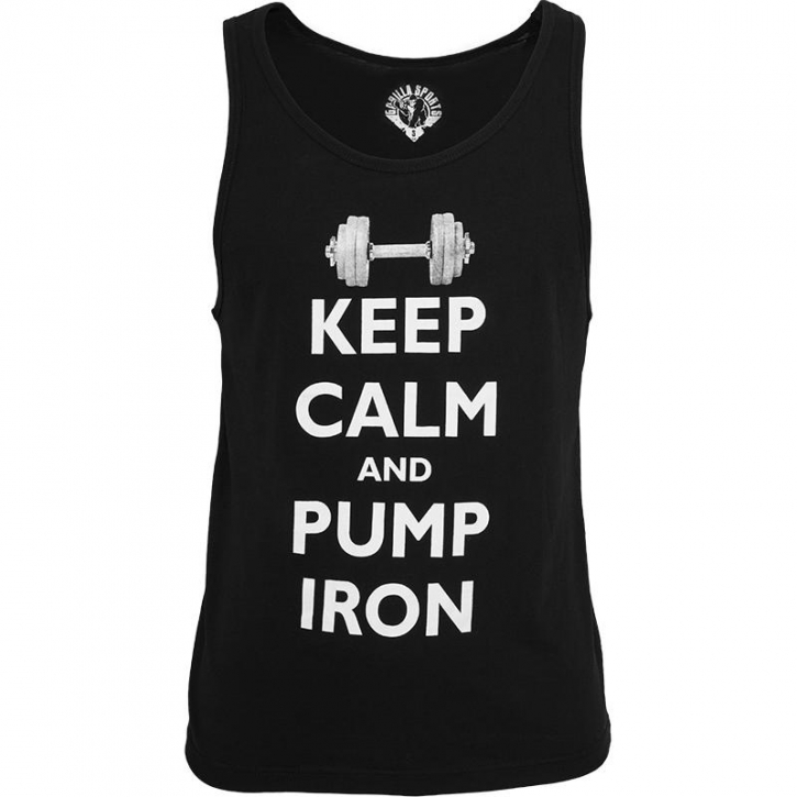 Gorilla Sports Tank Top Keep Calm and pump iron S Noir/blanc