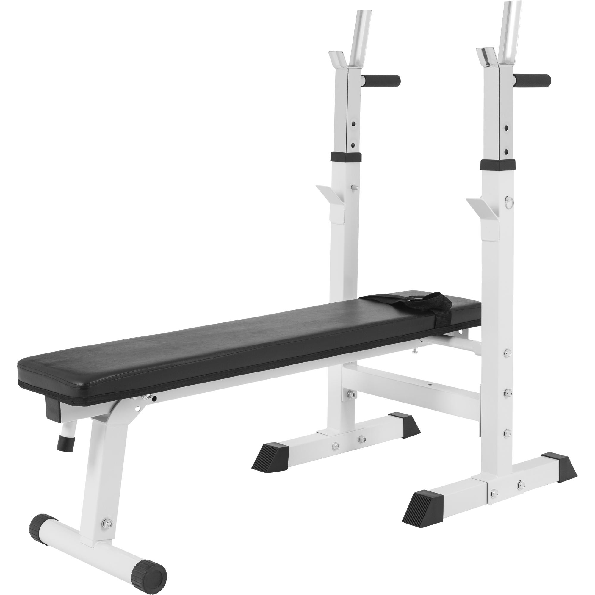 Banc de musculation avec support de barres 10000118 blanc 10000118white - Exercice de musculation avec banc ...