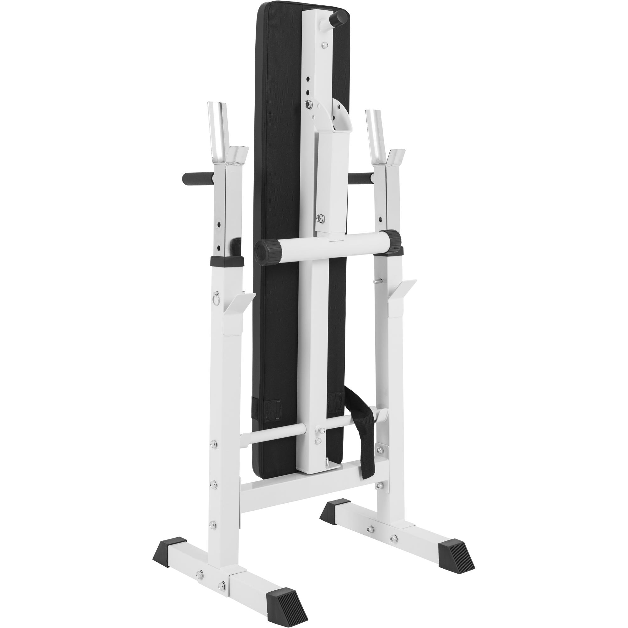 Banc de musculation avec support de barres 10000118 blanc - Banc de musculation avec barre de traction ...