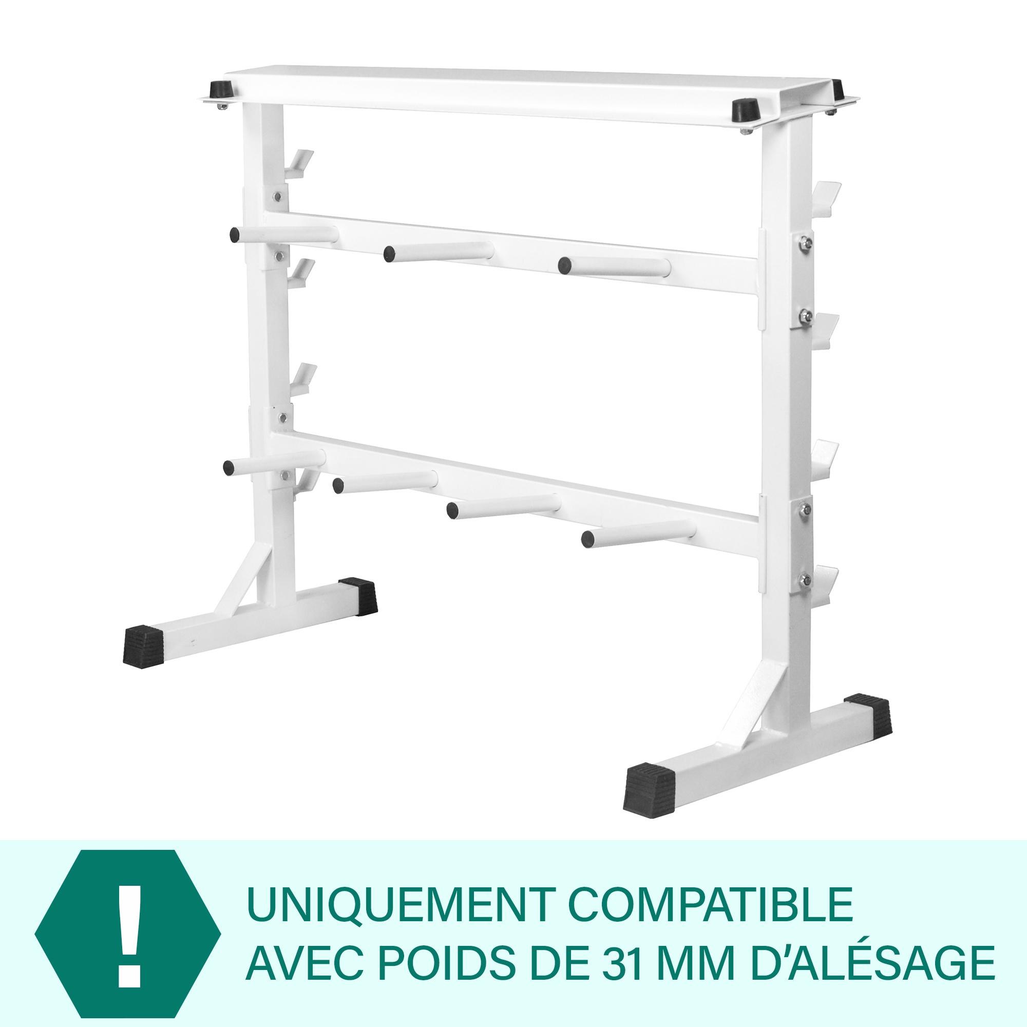 rack de rangement pour poids et halt res 30 31mm blanc. Black Bedroom Furniture Sets. Home Design Ideas