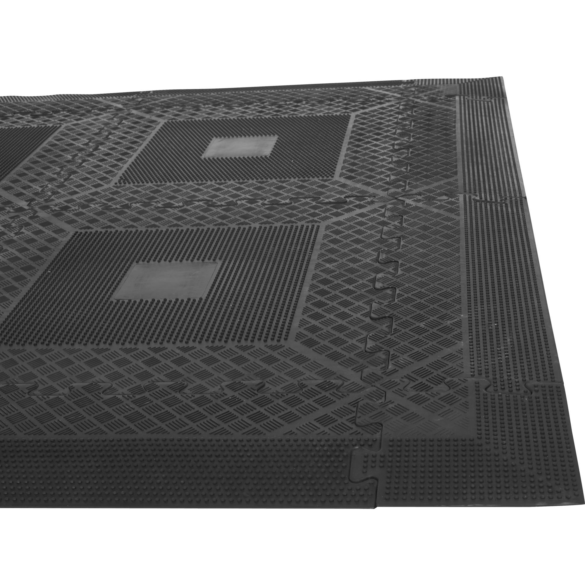 tapis puzzle de protection avec bordures 1 2cm d 39 paisseur en caoutchouc 16 l ments tapisdesolset. Black Bedroom Furniture Sets. Home Design Ideas