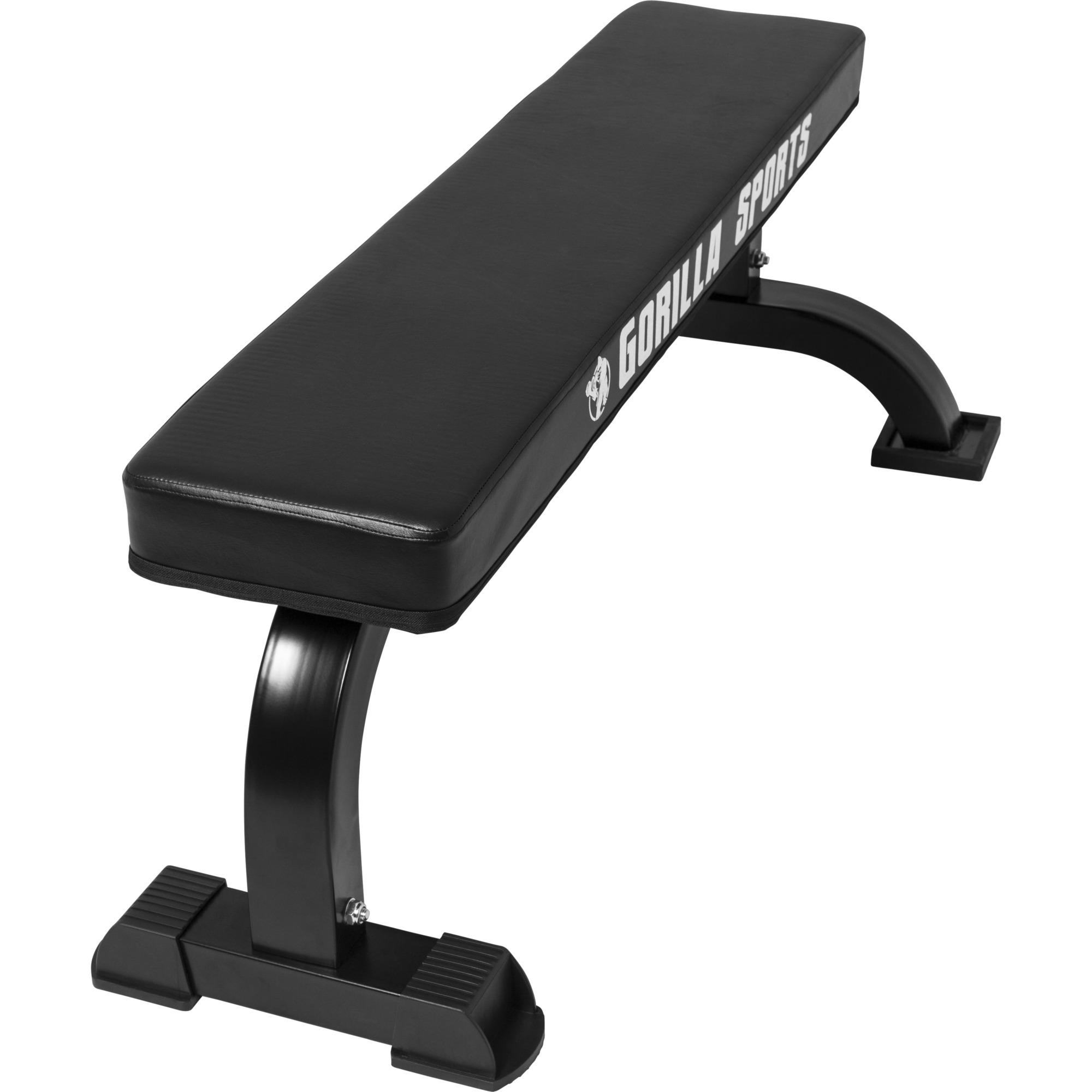banc de musculation plat avec logo gorilla sports 100109 00045 0001. Black Bedroom Furniture Sets. Home Design Ideas