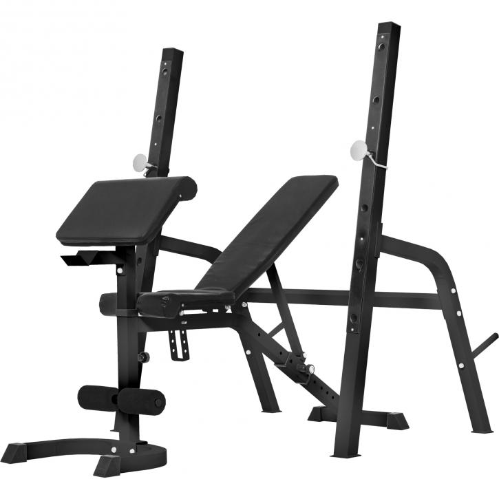 banc de musculation avec repose barre s par noir ou blanc 100132. Black Bedroom Furniture Sets. Home Design Ideas