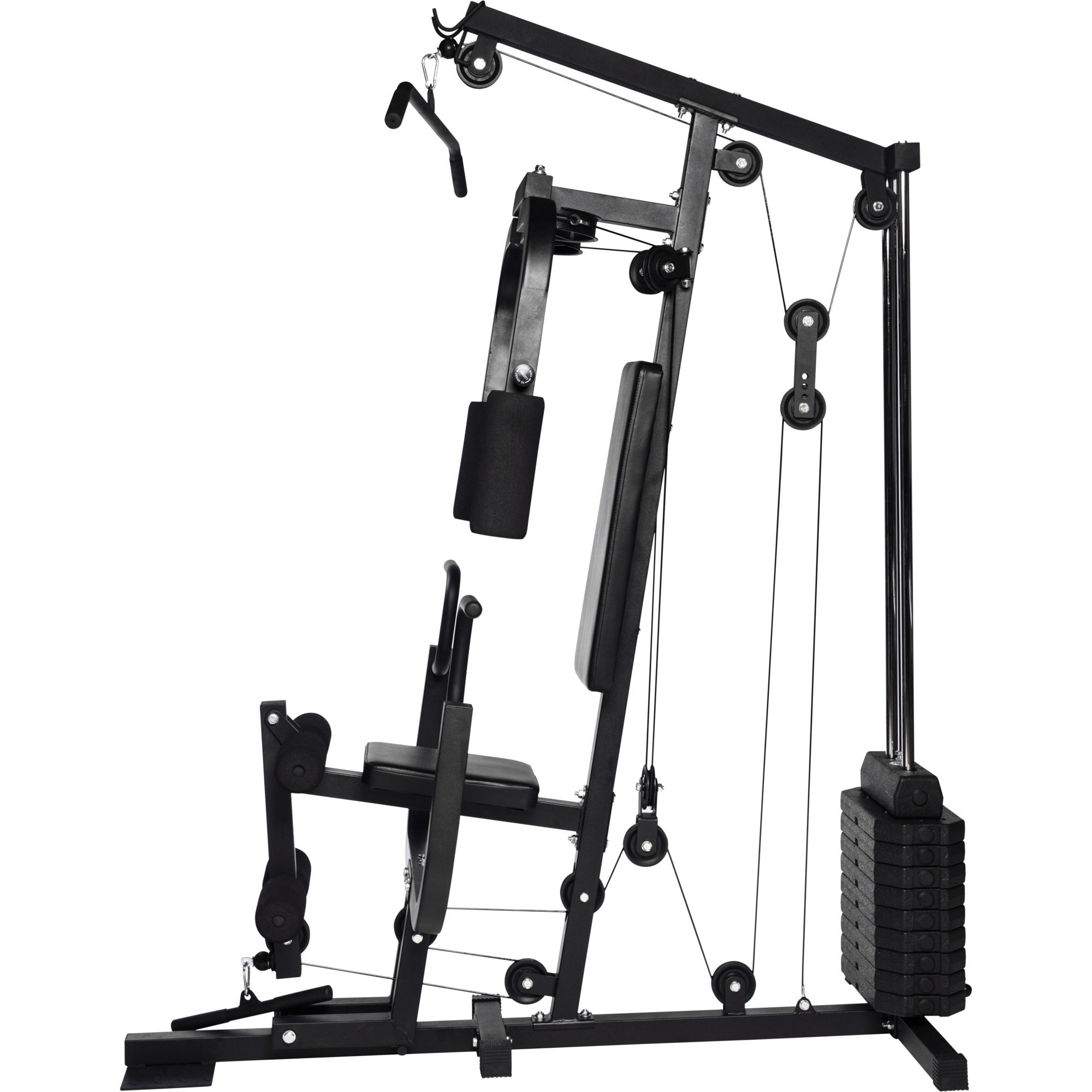 home gym multifonction noir gorilla sports appareil de musculation copmplet avec syst me de. Black Bedroom Furniture Sets. Home Design Ideas