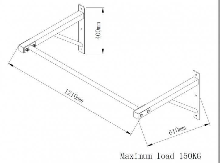 barre de traction mural distance du mur adapt e et id al pour les kipping ups 100855 00019 0001. Black Bedroom Furniture Sets. Home Design Ideas