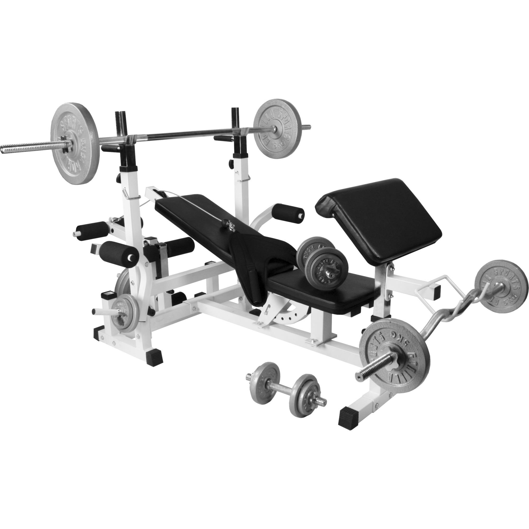 banc de musculation universel gs005 + set halteres 100 kg en plastique