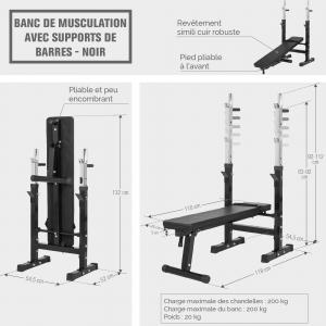 Banc De Musculation Avec Support De Barres Noir Press Benchbm 222